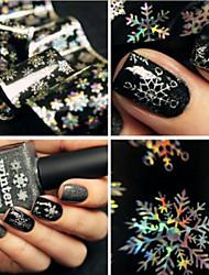 1 Sheet 120Cm*4Cm Christmas Snowflake Holographic Nail Foils Nail Art Transfer Sticker Paper