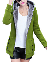 Women's Winter New Fleece Lining Hoodies Long Sleeve Zipper Coat