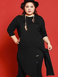 Mujer Largo Cardigan Casual/Diario Tallas Grandes Simple,Un Color Negro Escote Redondo Manga Larga Algodón Licra Otoño Medio Microelástico