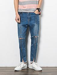 Hommes Droite Jeans Pantalon,Vintage Décontracté / Quotidien Couleur Pleine Taille Basse fermeture Éclair lin Micro-élastique Sangle