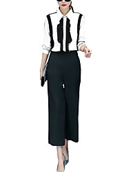 Women's Casual/Daily Simple All Seasons Set Pant Suits,Color Block Shirt Collar Long Sleeve Red / White Polyester Medium