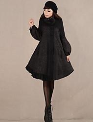 Feminino Casaco Casual Simples / Moda de Rua Inverno,Estampado Preto Lã Colarinho Chinês-Manga Longa Média