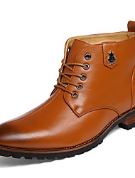 Men's Boots Spring / Fall / Winter Comfort Leather Casual Flat Heel Lace-up Black / Brown / Red / Gray