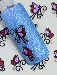 1pcs Feather Butterfly Nail Stickers
