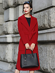 Damen Solide Einfach Lässig/Alltäglich Mantel,Winter V-Ausschnitt Langarm Rot Mittel Wolle / Polyester