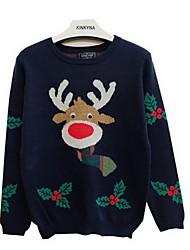 Damen Standard Pullover-Ausgehen Lässig/Alltäglich Niedlich Tierfell-Druck Blau Rundhalsausschnitt Langarm Kaninchen-Pelz AcrylFrühling