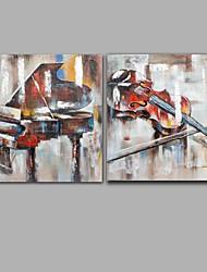 Pintados à mão Abstracto Pinturas a óleo,Modern / Clássico 2 Painéis Tela Hang-painted pintura a óleo For Decoração para casa