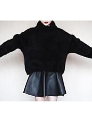 Damen Standard Pullover-Lässig/Alltäglich Retro / Einfach Solide Rot / Schwarz / Grau Rollkragen Langarm Andere Herbst / Winter Mittel