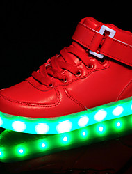 Kids Boy Girl's LED Shoes Sneakers Comfort / Flats Athletic / Casual / Magic Tape / High Tops / LED USB Charge / Black / Red / White