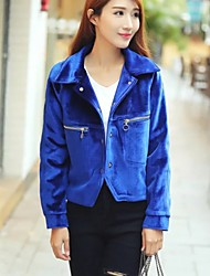 Women's Going out / Casual/Daily Simple / Street chic Jackets,Solid Shirt Collar Long Sleeve Fall / Winter Blue / Red / Black / Green