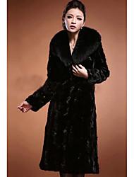 Women's Casual/Daily Simple Fur Coat,Solid Long Sleeve Spring / Fall Black Faux Fur Medium
