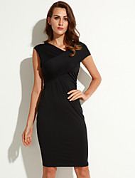 Women's Sexy Polyester Short Sleeve Off Shoulder Midi Bodycon Dress