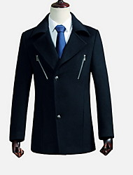 Men's Casual/Daily Simple Coat,Solid Stand Long Sleeve Fall / Winter Blue / Black / Gray Wool Thick