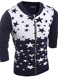 Men's Going out / Casual/Daily Simple Regular Cardigan,Polka Dot Blue / Red Round Neck Long Sleeve Polyester Fall / Winter Medium