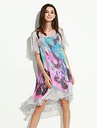 Ample Robe Femme Décontracté / Quotidien Grandes Tailles simple,Imprimé Col Arrondi Asymétrique Manches Courtes Gris Polyester EtéTaille