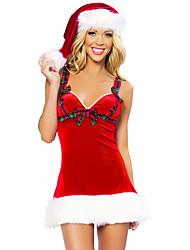 Fantasias de Cosplay Ternos de Papai Noel Cosplay de Filmes Vermelho Cor Única Vestido / Chapéus Natal Feminino Poliéster