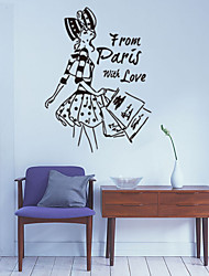 Pretty Girl Shopping Wall Stickers Black Wall Stickers