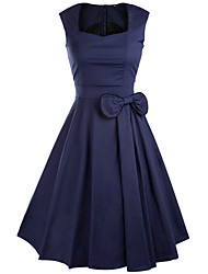 Women's Formal Simple Swing Dress,Solid V Neck Midi Long Sleeve Blue / Red / Black Rayon Fall / Winter High Rise Micro-elastic Medium