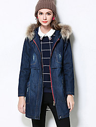 MEIDONGTAI Women's Plus Size / Casual/Daily Simple CoatSolid Hooded Long Sleeve Winter Blue Cotton Thick