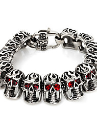 Kalen Punk Jewelry Bracelet 316 Stainless Steel Red Evil Eyes Skull Charm Bracelet Hip Hop Rock Biker Men's Pub Accessories