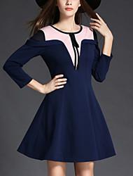 Women's Elegant Slim chic A Line Dress Color Block Round Neck Mini  Sleeve Blue Cotton / Polyester Fall High Rise Micro-elastic