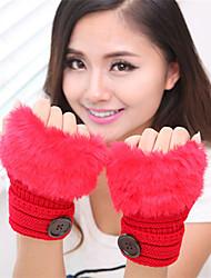 женская простая нечеткая длина трикотаж запястье половина палец мило / партии / вскользь перчатки зимы
