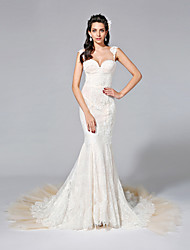 LAN TING BRIDE Trumpet / Mermaid Wedding Dress - Glamorous & Dramatic See-Through Court Train Sweetheart Lace Tulle with Appliques