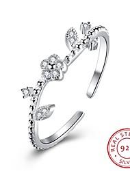 Anéis Casamento / Festa / Diário / Casual Jóias Prata de Lei / Zircão Feminino Anel / Anel de noivado 1pç,Ajustável Prateado