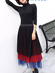 Women's Plus Size A Line Solid Tulle / Mesh Skirts,Casual/Daily Street chic Mid Rise Midi Elasticity Polyester Micro-elastic Fall / Winter