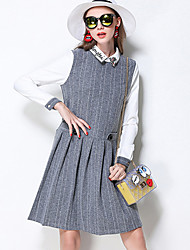 MEIDONGTAI Women's Plus Size / Casual/Daily Simple A Line DressStriped / Patchwork Shirt Collar Above Knee Long Sleeve GrayCotton / Polyester /