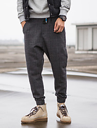 Men's Skinny Chinos Pants,Casual/Daily Simple Plaid Mid Rise Zipper Cotton Micro-elastic Fall / Winter