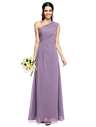 2017 Lanting vestido longo bride® chiffon elegante dama de honra - um ombro com drapeados lado