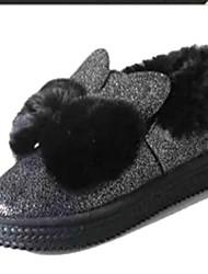 Women's Boots Fall Winter Comfort PU Fur Outdoor Casual Flat Heel Black Silver Walking
