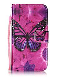 Pour Portefeuille Porte Carte Clapet Motif Coque Coque Intégrale Coque Papillon Dur Cuir PU pour LGLG K10 LG K8 LG K7 LG G4 Stylus /