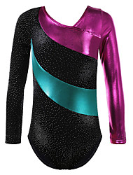 Girls Kids Long Sleeve Ballet Leotards Dance Performance Costume Gold Foiled Print Sparkle Top for 2-10 Y