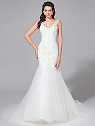 Mermaid / Trumpet Jewel Neck Court Train Lace Tulle Wedding Dress with Beading Appliques by LAN TING BRIDE®