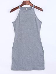 Mulheres Vestido Bodycon Sexy Sólido Acima do Joelho Decote Redondo Algodão / Nylon
