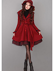 Women's Casual/Daily Simple Coat,Solid Shirt Collar Long Sleeve Fall / Winter Red Wool Medium