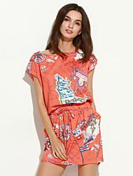 Women's Going out / Plus Size Vintage / Boho Sheath Dress,Print Round Neck Above Knee Short Sleeve Blue / Orange Rayon All Seasons