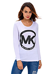 Womens Letter Print Long Sleeves Pullover Lace-up Top in White