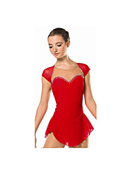 Ice Skating Dress Women's / Kid's Long Sleeve Skating Dresses High Elasticity Figure Skating Dress Breathable / Comfortable Elastane Red