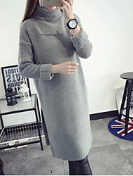 Women's Going out / Casual/Daily Cute Sweater Dress,Solid Round Neck Knee-length Long Sleeve White / Black / Gray / Purple Cotton FallMid