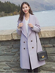Women's Casual/Daily Simple Coat,Solid Shirt Collar Long Sleeve Winter Purple Nylon Medium