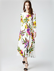 Women's Formal / Party/Cocktail Boho / Cute Swing Dress,Floral Round Neck Maxi Long Sleeve White Spandex Spring / Fall Mid Rise