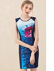 Dámské Vintage Běžné/Denní Bodycon Šaty Květinový,Bez rukávů Kulatý Nad kolena Modrá Polyester Jaro Mid Rise Neelastické Střední