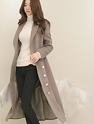 Women's Going out / Casual/Daily / Party/Cocktail Simple Coat,Solid Peter Pan Collar Long Sleeve Fall / Winter Black / Gray Cashmere