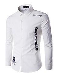 Masculino Camisa Casual / Trabalho Simples Outono / Inverno,Letra Azul / Branco Linho Colarinho Clássico Manga Longa Média
