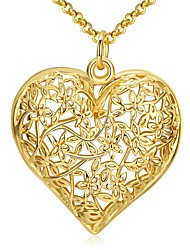 Women's Gold Plated Hollow Flower Heart Design Pandent Chunky Necklace pendientes mujer bijuterias Gift Fashion