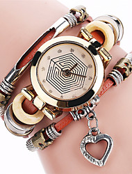 XU Women's  Vintage Leather Belt Casual Simulated Diamond Spider's Web Bracelet Watch