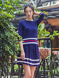 I LOVE KNITTING Women's Casual/Daily Simple Fall T-shirt Skirt SuitsStriped Round Neck Long Sleeve Blue Wool / Cotton